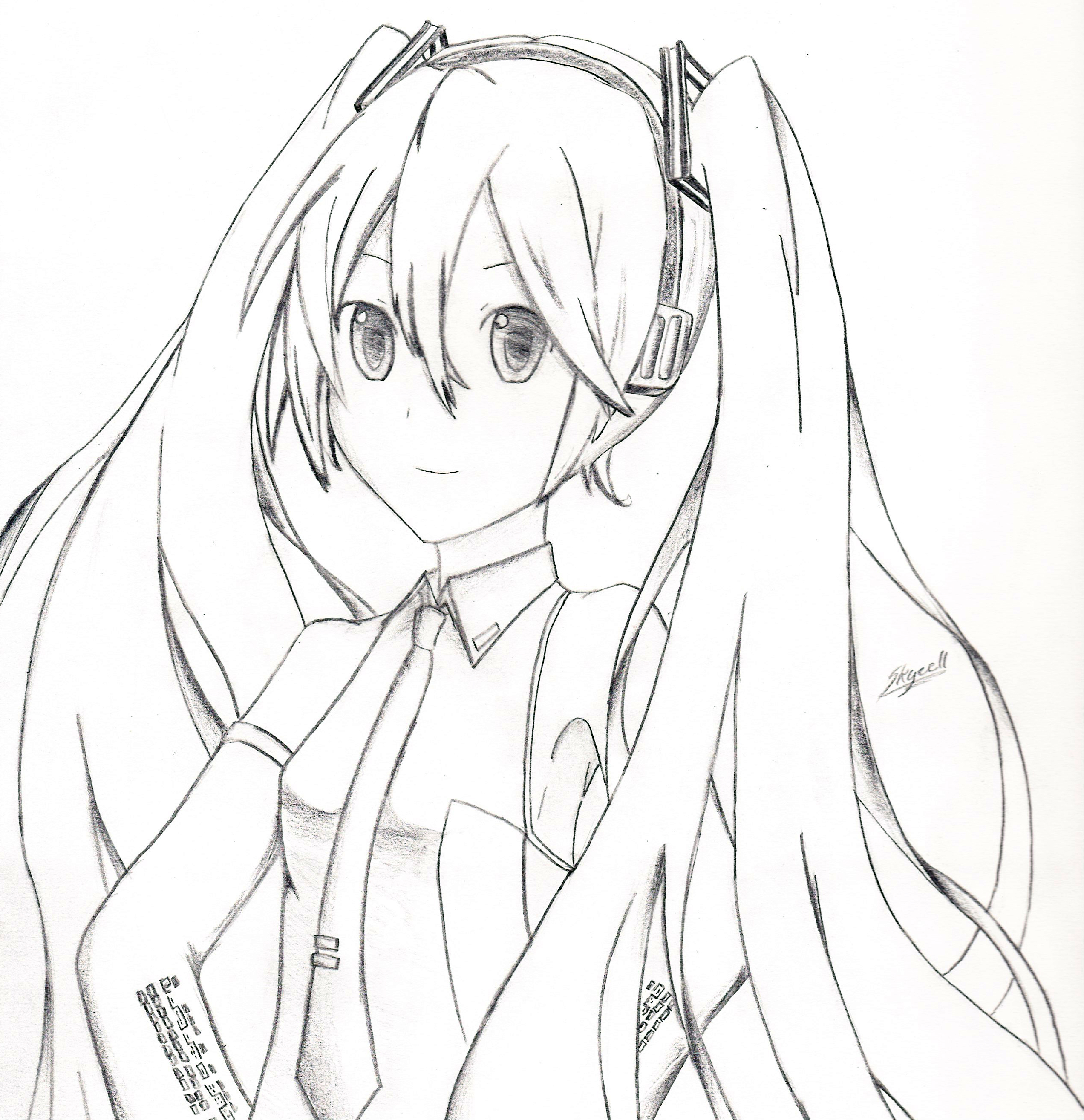 Getting Back Into Drawing: Miku Hatsune | Skycell Blogs Hatsune Miku Drawing Markcrilley
